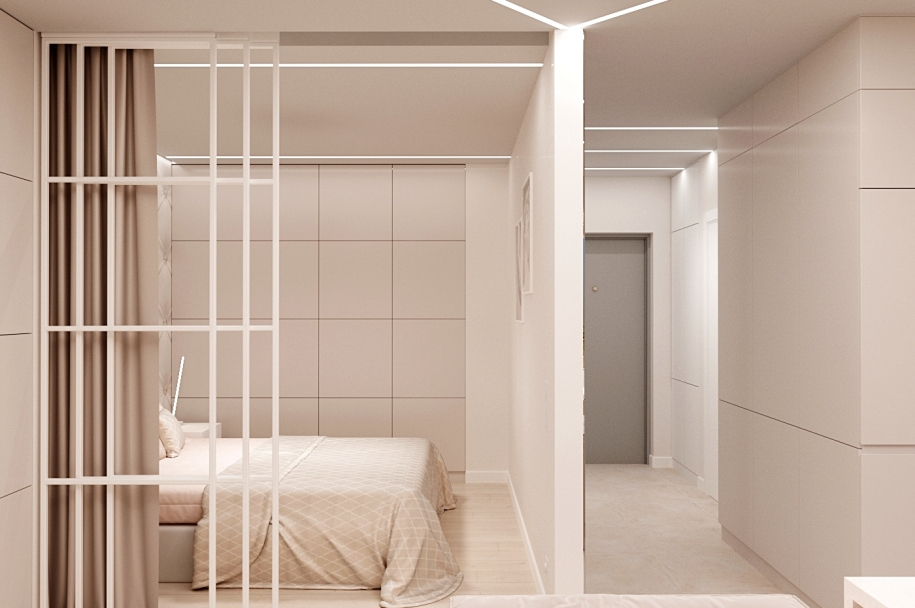 Design of a one-room apartment with an area of 40.7 sq. M. for a couple without children.