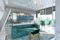 Design of a two-room apartment with an area of 78 sq. м. for a couple
