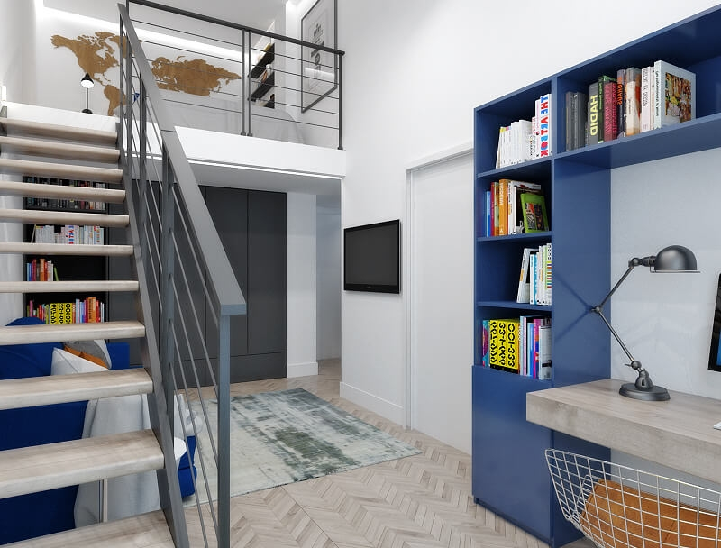 Interior design two-level apartment w / a
